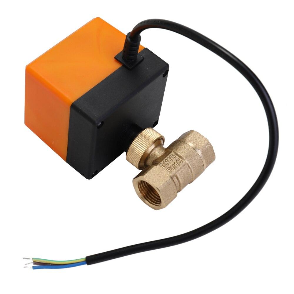 Dn15/dn20/dn25 válvula de esfera motorizada elétrica da linha bronze ac 220 v 2 maneira 3 fio 1.6mpa com atuador para a água, gás, óleo