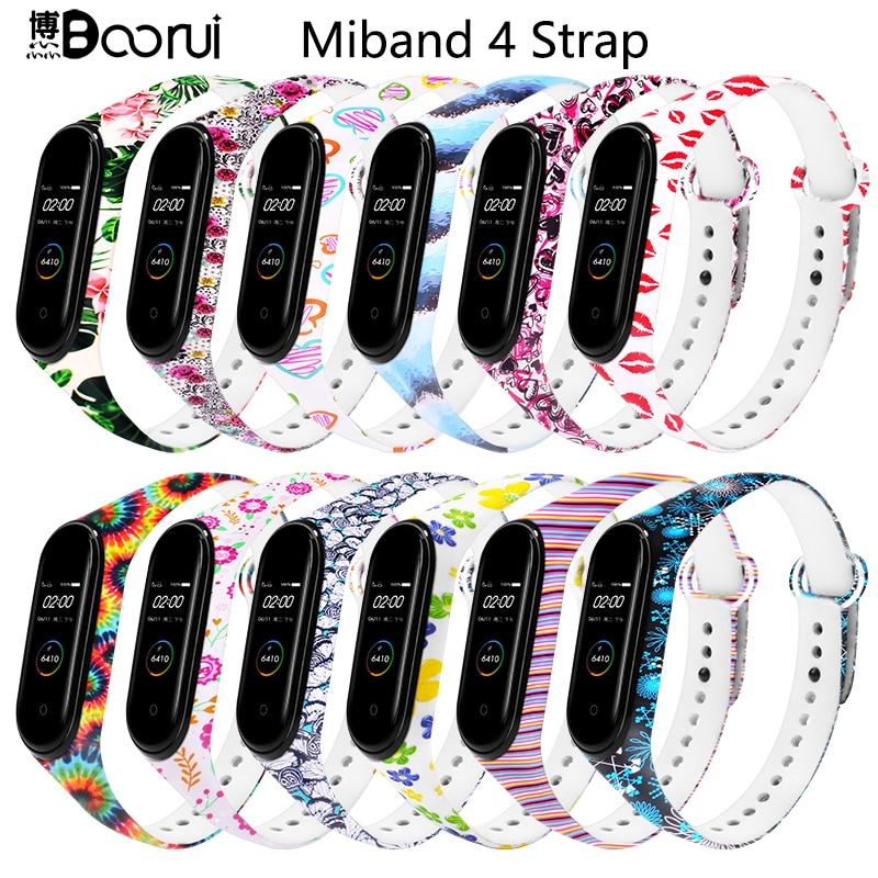 Ремешок BOORUI Mi band 4 для xiaomi mi band 4 аксессуары pulsera inteligente силиконовый пояс с цветами для замены m4 band|Смарт-аксессуары|   | АлиЭкспресс