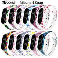 BOORUI mi band 4 Strap para xiaomi mi band 4 accesorios pulsera inteligente silicona belleza flores cinturón reemplazo para m4 band