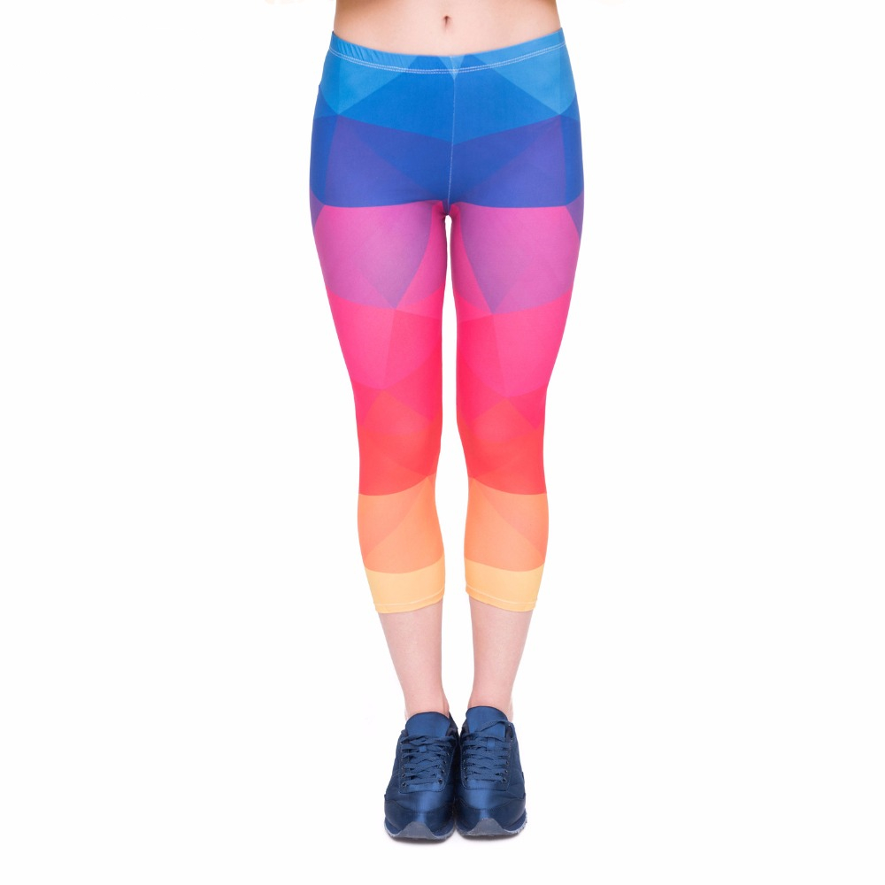 Summer Women Capri Leggings Triangles Rainbow Printing Sexy Mid-Calf 3/4 Fitness Leggins Capri Pants