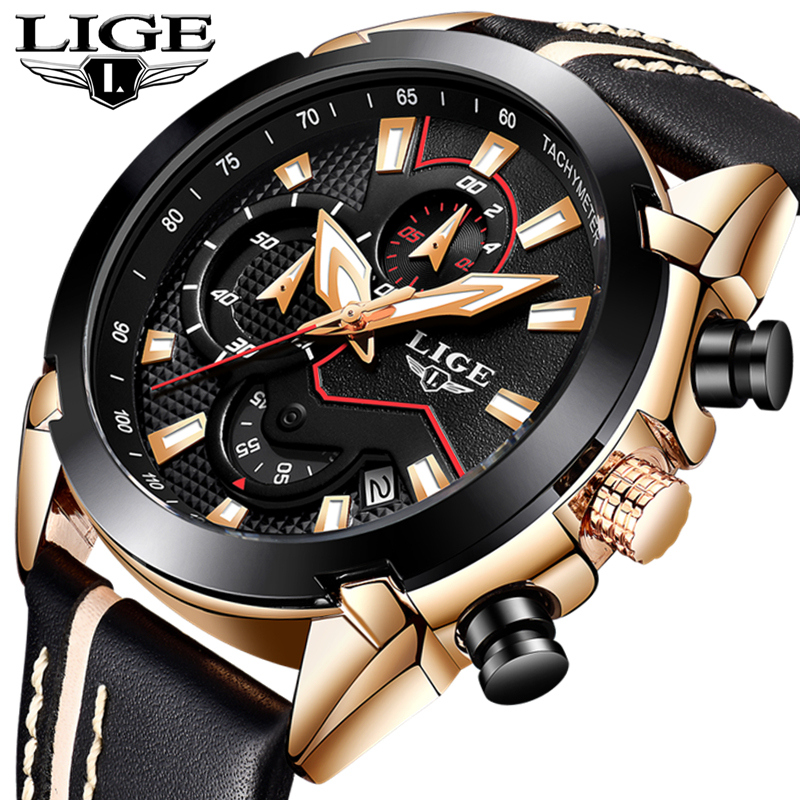 LIGE Watch Men Fashion Sport Quartz Military Clock Mens Watches Top Brand Luxury Date Waterproof Leather Watch Relogio Masculino стоимость