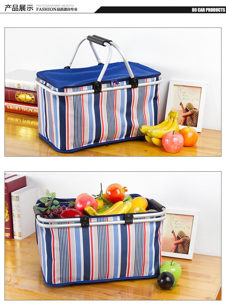 Aluminum Alloy Foldable Cooler Bag Basket Thermal Food Box Cans Fruit Storage Picnic Lunch Insulation Tote Cool Bag Package (8)