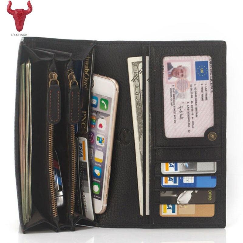 LY.SHARK Genuine Leather women Wallet and purse Coin Purse Long Wallet men Phone Card Holder Clutch designer Zipper money Bag