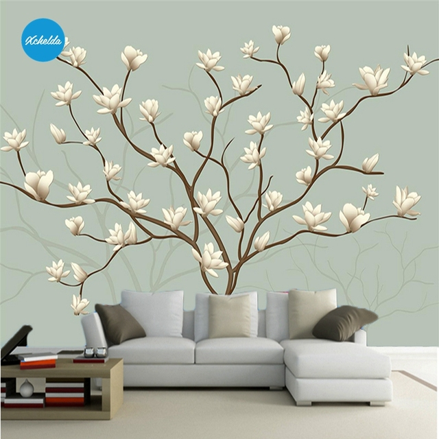 XCHELDA 3D Mural Wallpapers Custom Painting Magnolia Tree Design