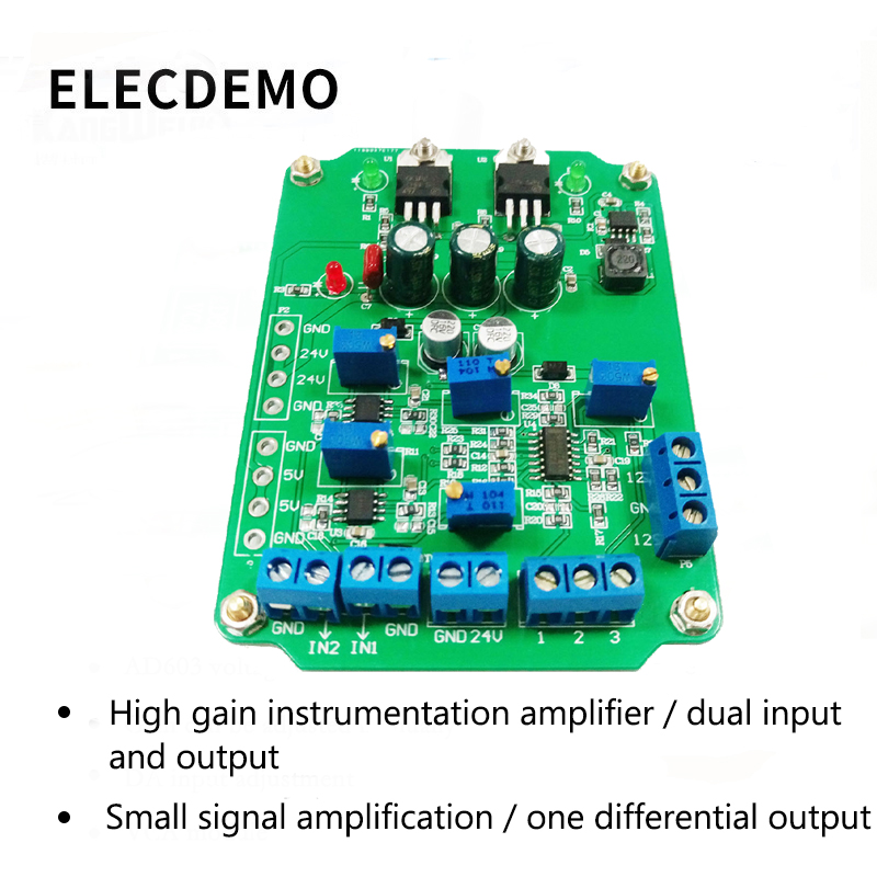 Image 2 - AD620 module High Gain Instrumentation Amplifier AD620 Transmitter Voltage Amplifier Module Dual Differential Output-in Demo Board Accessories from Computer & Office