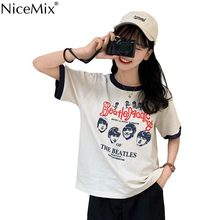 NiceMix Harajuku Patchwork tshirt Women Summer T-shirt Cotton Vintage Punk Tee Shirt Femme Retro Street Wear Chic Female Tops Ko(China)