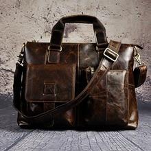 Men Genuine Leather Office Maletas Business Briefcase 15.6″ Laptop Case Attache Portfolio Bag Maletin Messenger Bag B260