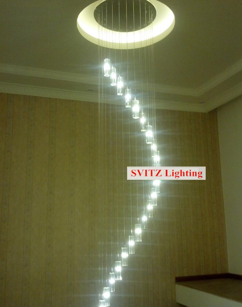 Penthouse long led light luminaria shopcase 12 30 pcs large spiral penthouse long led light luminaria shopcase 12 30 pcs large spiral crystal chandelier lighting hotel g4 led stair lamp lustre in chandeliers from lights arubaitofo Gallery