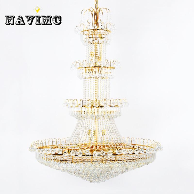 100 cm Luxus Große Europa Große Gold Glanz Kristall Kronleuchter - Innenbeleuchtung - Foto 2