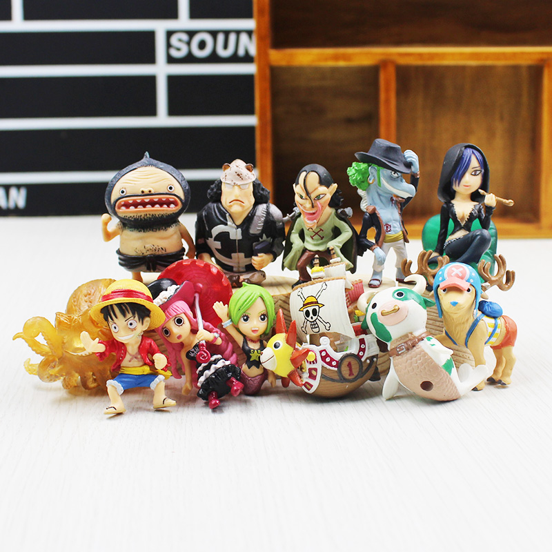 12 PCS/lot high quality original one piece Luffy Japanese anime figures Q Version PVC Anime action figure set brinquedos