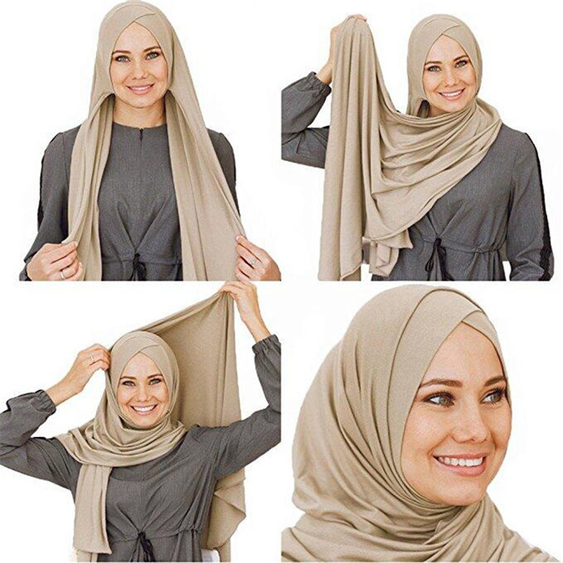 Trendy Muslim Jersey Cotton Instand Shawl Hijab Scarf Islamic Soft Plain Headscarf Foulard Femme Musulman One Piece Hijab