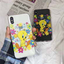Cartoon rainbow bird for iphone xr x xs xsmax cute transparent flower silicone soft fundas lucky coque