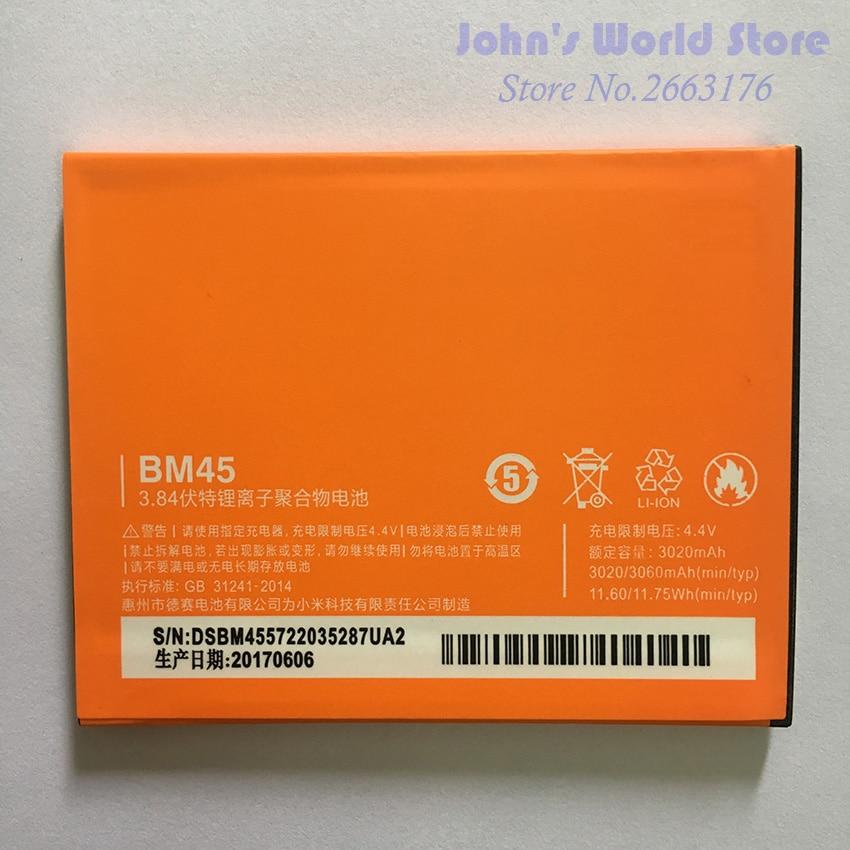 Per Xiaomi Redmi Nota 2 Batteria Nuova BM45 3020 mAh Li-Ion Batteria di Ricambio Per Xiaomi Redmi Hongmi nota 2 Prime