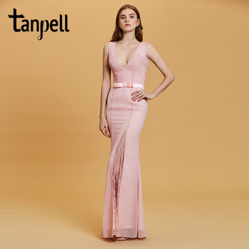 Tanpell split front evening dress pink v neck sleeveless floor length mermaid gown women party formal long lace evening dresses
