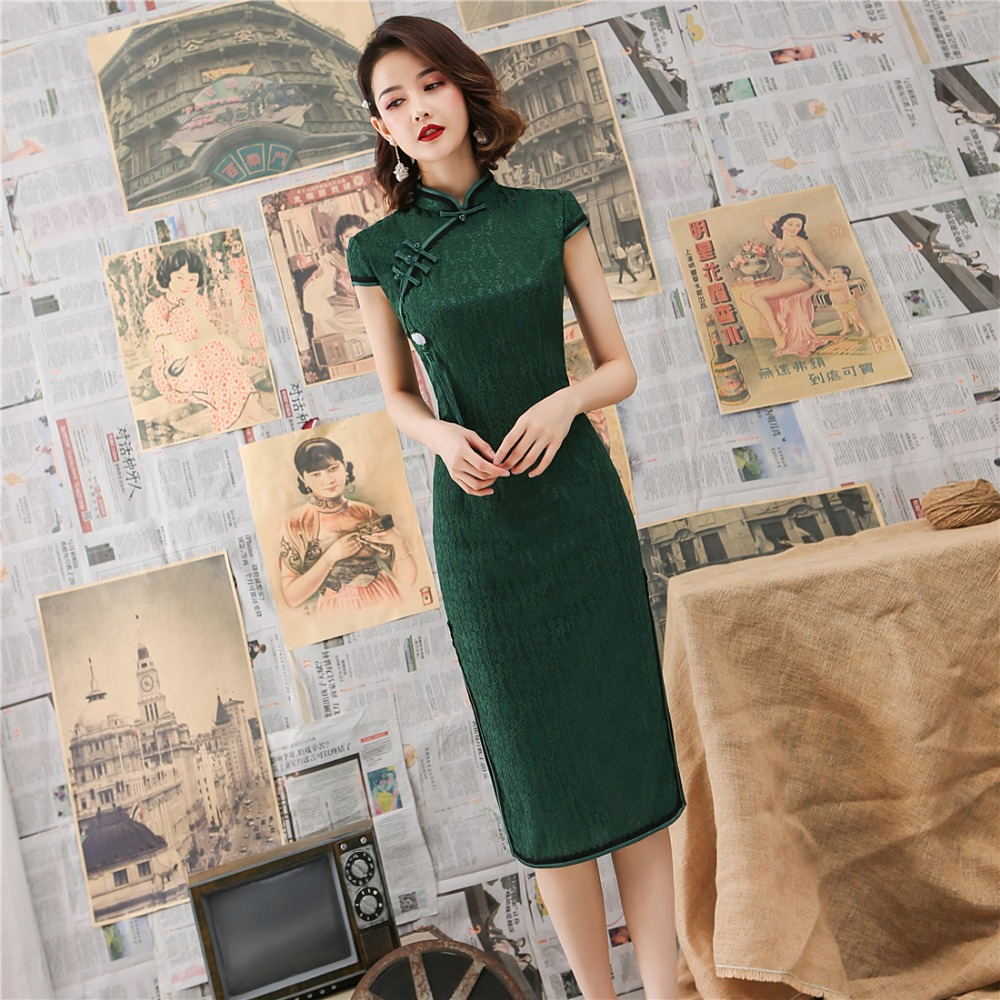 Sexy Green New Female Lace Cheongsam Women Novelty Qipao Short Sleeve Elegant Chinese Dress Slim Chi-pao Vestidos Size S-XXL