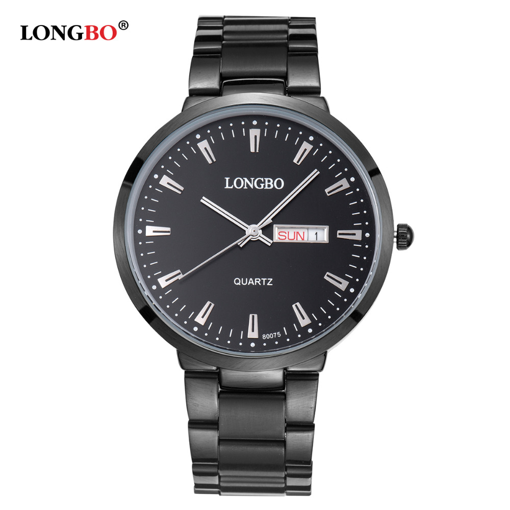 LONGBO Men Luxury Full Stainless Steel Watch Auto Date Waterproof Quartz Wrist Watch,Top Qualiry Male Sport Watches 80075 longbo top brand luxury lovers watch fashion full steel quartz watch men women waterproof auto date watches unisex hour montre
