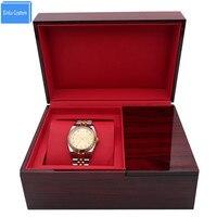Melhor para o Presente Em Branco Quadrado de Alto Grau de Madeira Marrom Brilhante Exibição de Caixas de Relógio de Presente de Luxo Caixa De Armazenamento para Relógios Alibaba Fábrica