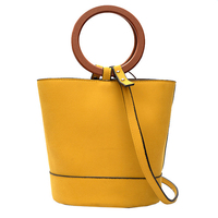 2017 Fashion Suede Leather Women Bucket Bag Stylish Round Ring Handle Crossbody Purse For Office Lady