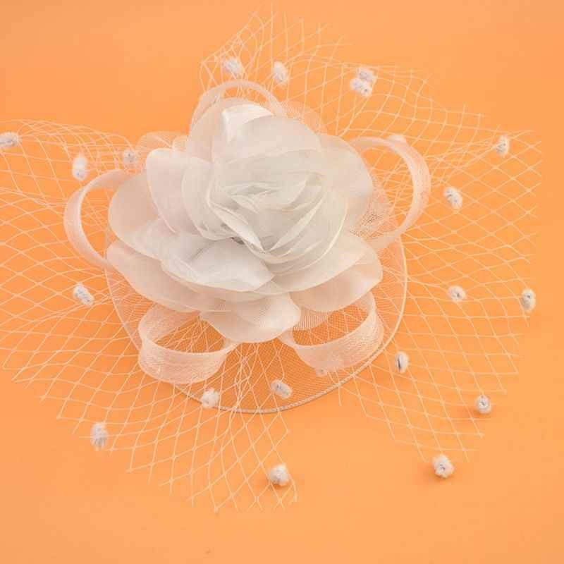 Gadis Mesh Kerudung Topi Pernikahan Hiasan Kepala Elegan Pita Bunga Besar Warna Solid Fascinator Kecil Mewah Titik Gelombang Rambut Bridal Pin gai