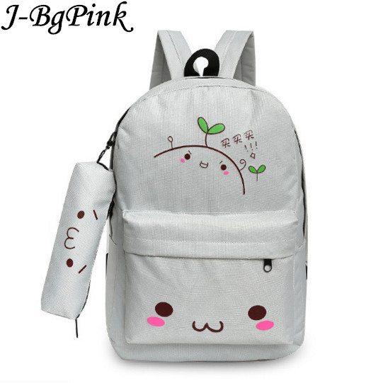 Kawaii Emoji Backpack Feminine Canvas School Backpack Youth Cute Backpack For Teenagers Girls Smiley School Bag Sac A Dos Ecole