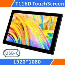 Monitor portátil usb, tela sensível ao toque 1080 p ips com usb c/hdmi/vídeo, para raspberry pi 3 b + 2b ps3 ps4 wiiu xbox 360 (t116d)