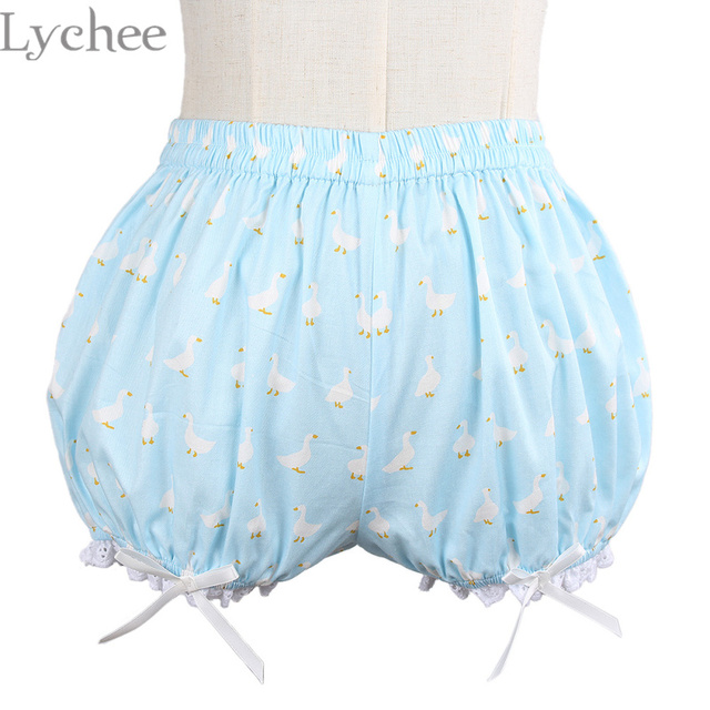 Lolita Style Women Cartoon Goose Print Pumpkin Underwear Shorts Lace Bowknot Safety Short Pants