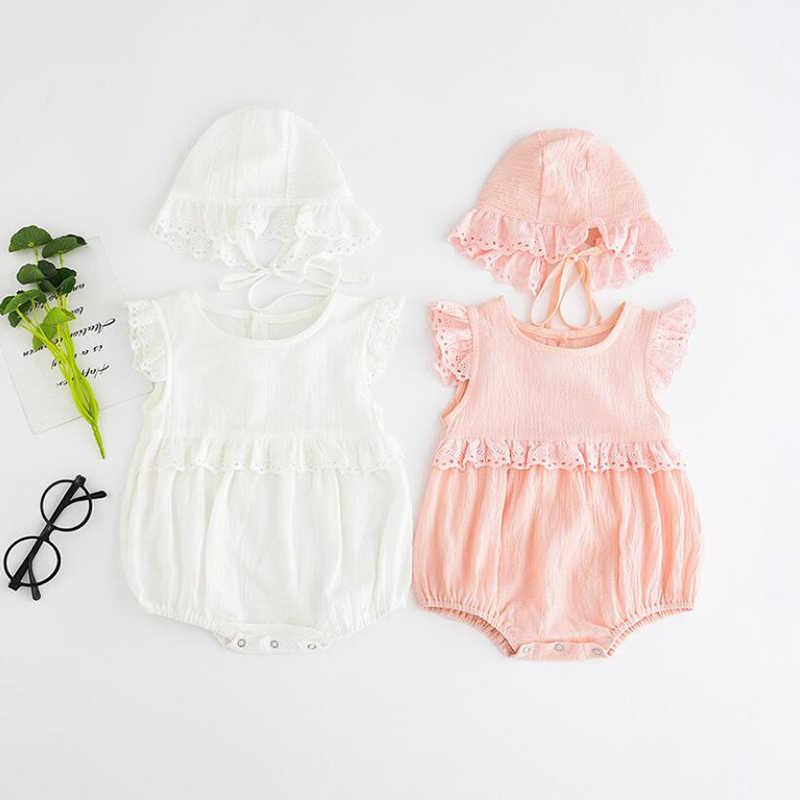2019 для девочек детский летний комбинезон из хлопка с кружевом для малышей, комбинезон + Шапки для новорожденных Одежда для малышей для маленьких девочек одежда комбинезон для младенца