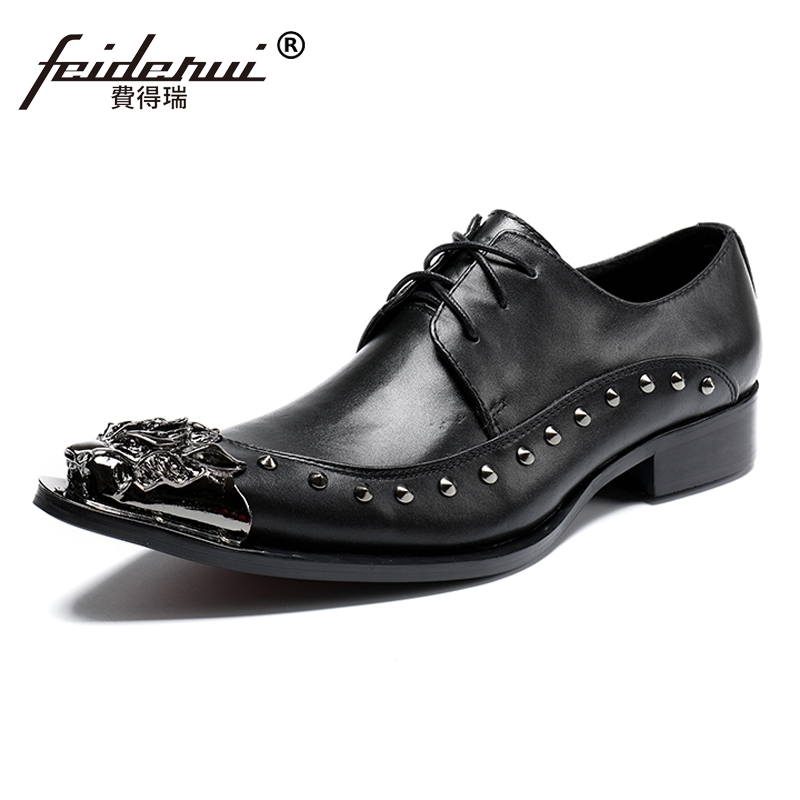Plus Size Elegant Pointed Toe Derby Man Modern Footwear Luxury Genuine Leather Studded Wedding Party Men's Runway Shoes SL136