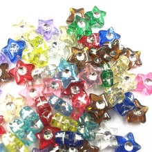 100Pcs Mixed Colourful Spacer Beads Star Acrylic Fashion Jewelry DIY Charms Findings 9mm