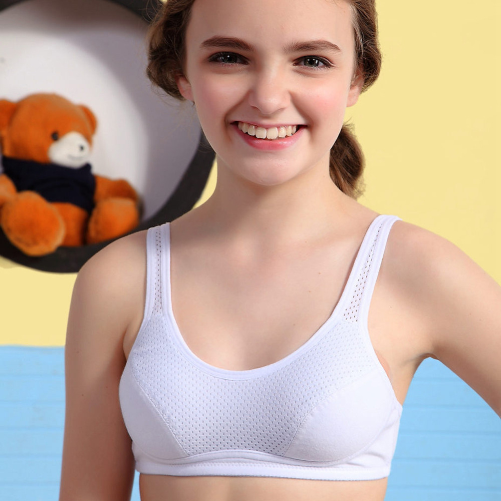 Tsfit-Land Young Girl Bra Student Underwear Small Training Bra 92.7%cotton Breathable Net Bra