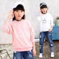Crianças meninas primavera/outono 2017 new long-sleeved t-shirt das meninas do bebê vestuário de moda triângulo camisa 4/5/6/7/8/9/10/11/12 anos