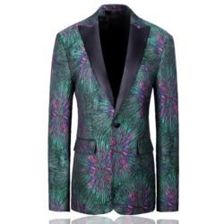 YUSHU Slim Fit Een Knop Heren Groene Blazer Britse Stijl Casual Blazer Zakelijke Banket Trouwjurk Jas Kostuum Homme