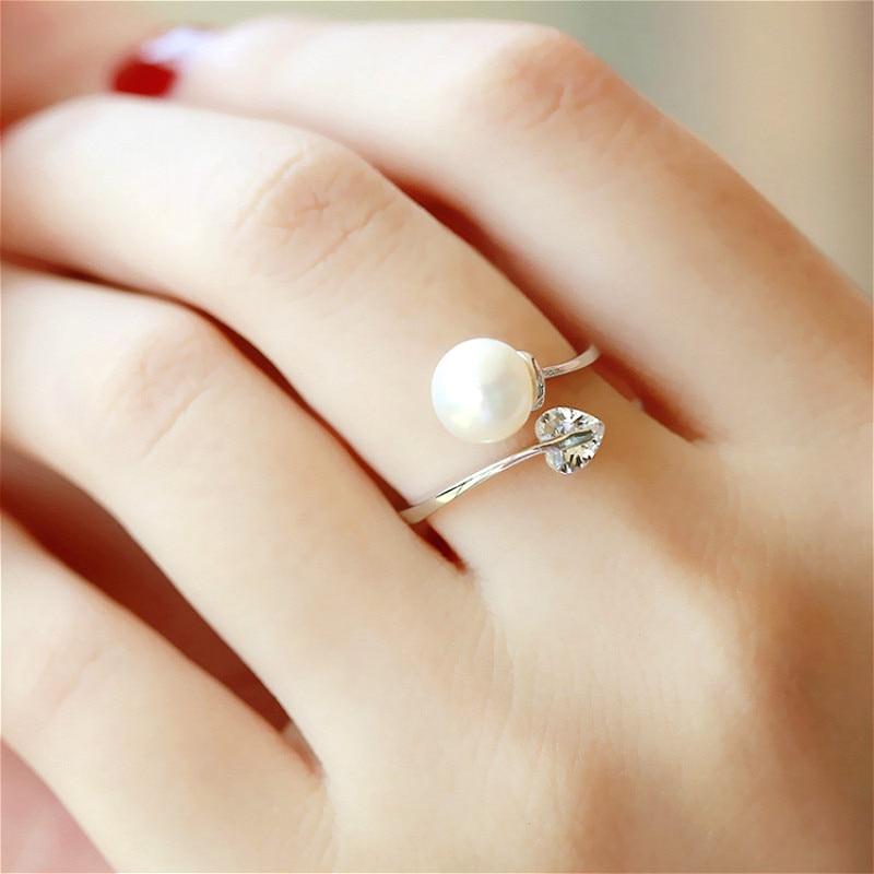 Love Heart Zircon Simulated Pearl Open Rings pro ženy Bijoux Módní Nastavitelné šperky Doplňky