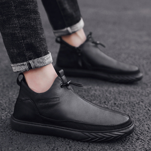 Image 2 - Genuine Leather Shoes Men Brand Footwear Non slip Thick Sole Fashion Mens Casual Plus velvet Sneakers Male High Quality zapatos