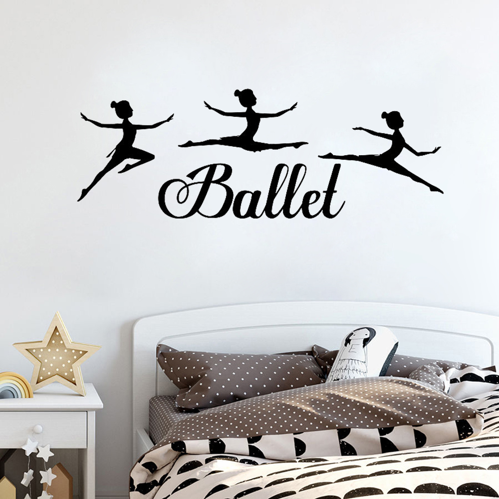 Wall Stickers Ballet Dancing Girls Silhouette Wall Decal Bedroom For Kids Rooms Dance Room Decor Stickers Girl Gifts Ballerina Art Mural D637