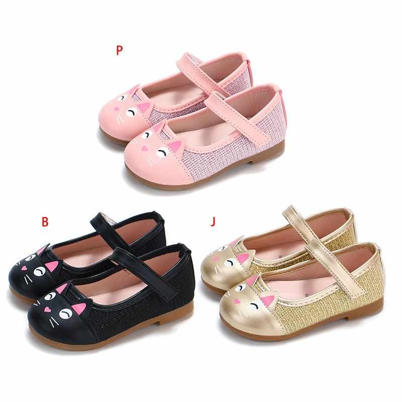 ฤดูใบไม้ผลิฤดูใบไม้ร่วงเด็กทารกแมวหัวเจ้าหญิงรองเท้าเล็กแมวหนังรองเท้าเด็กรองเท้า 0-6Y
