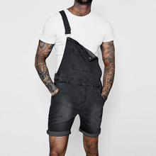 Summer New Fashion Jeans Jumpsuit Men Denim Overalls Brand Suspender Pants Disstressed Bib
