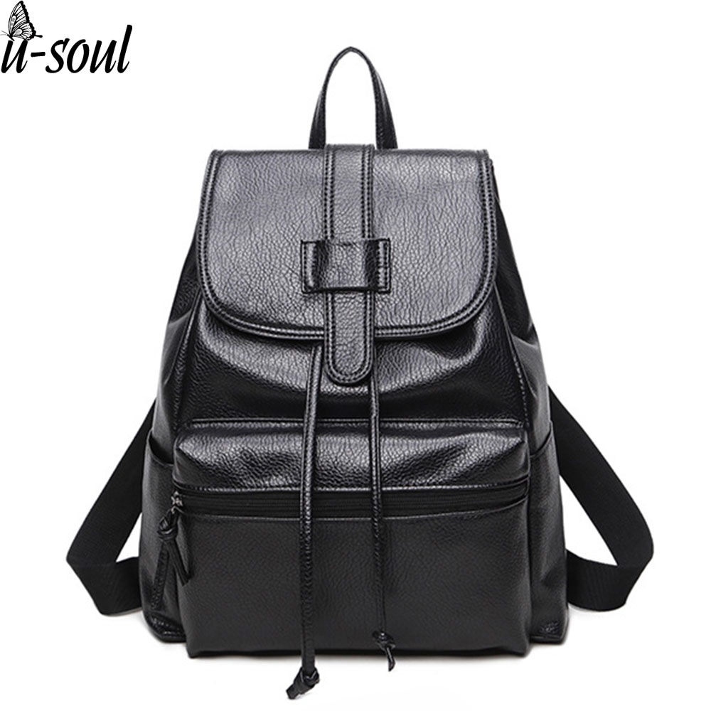 female backpack preppy style girls school bag travel rucksack pu leather women black color ladies backpack mochila SC0498 primary school students school bag 3 6 candy color preppy style backpack
