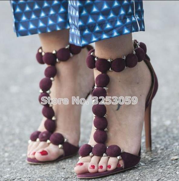 ALMUDENA/дизайнерская обувь; женские летние сандалии с шипами и пуговицами; Украшенные высокие каблуки; туфли лодочки на шпильке с помпонами - 6