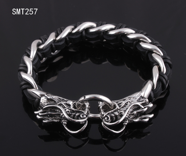 Dragon Head 316l Stainless Steel Biker Bracelets Bangles W Leather Men Jewelry High Quality