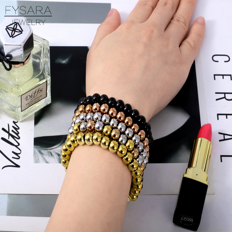 FYSARA 6/8mm Stainless Steel Gold Color Beaded Bracelets & Bangles for Women Men Jewelry Biker Bicycle Bead Stretchable Bracelet