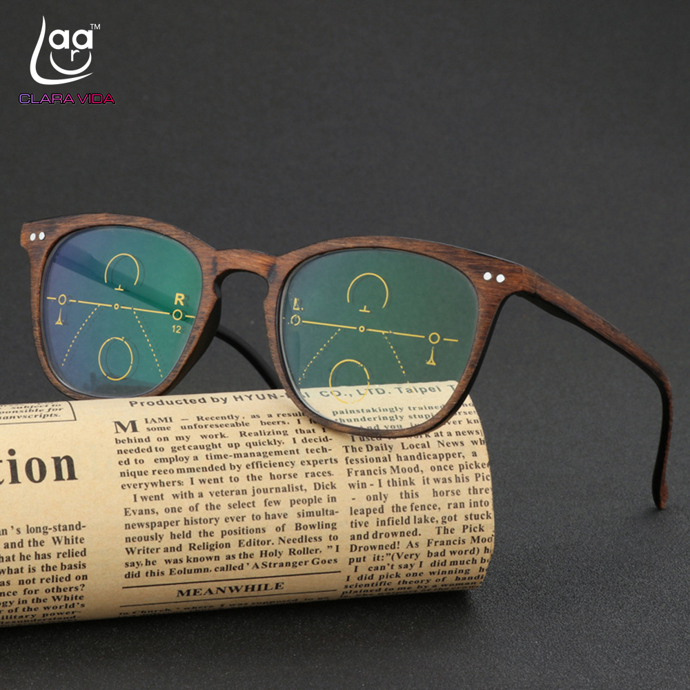 CLARA VIDA = Retro Faux Wood Grain Frame Intelligence Progressive Multifocal Commercial Reading Glasses Bifocal +1 +1.25 TO +3