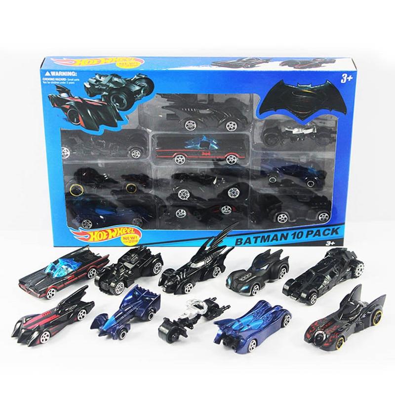 10pcs Box Hotwheels Mini Scale Slide Model Cars Classic Toy Batman