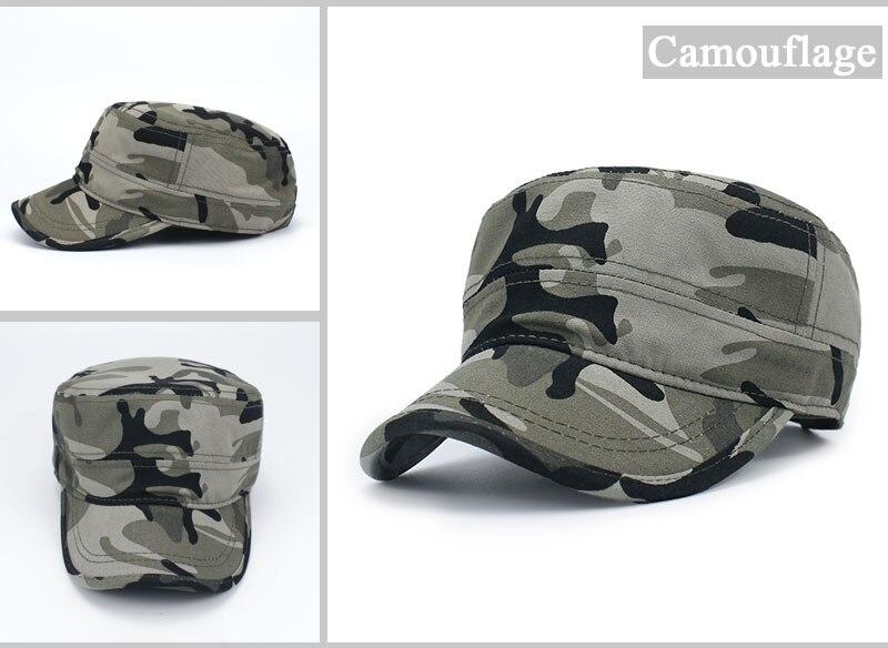 a5a327c04b806 Ejército camuflaje plano Top hombres mujeres gorras sombrero gorra de  béisbol ajustable Casual sombreros militares para hombres Snapback cadete  militar ...