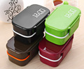 Eco-friendly Japan Style Double Tier Bento Lunch Box PP Cute Meal Box Tableware Microwave Oven Dinnerware Set Kitchen
