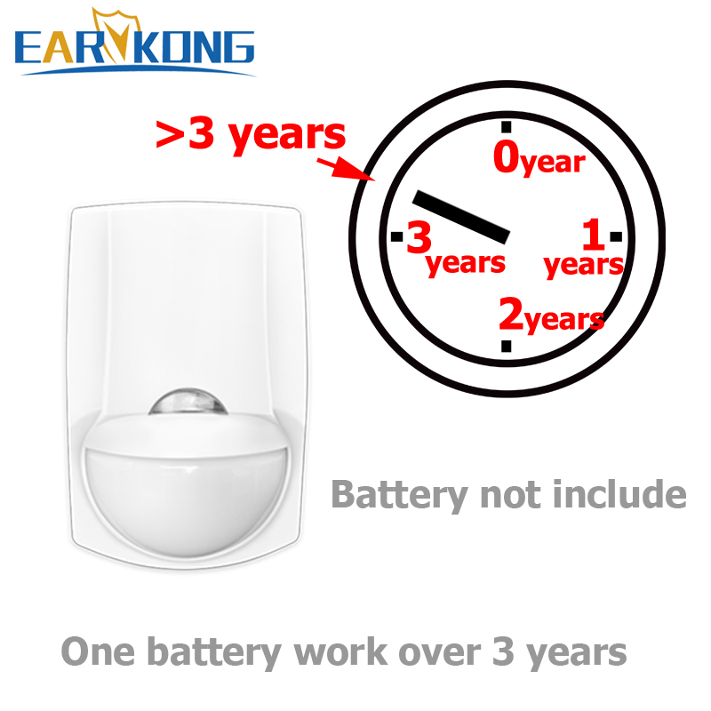 High Quality Low Power Wireless Infrared Detector, Motion Sensor,  433MHz Wireless, 1 Battery 3 Years Standby Time, Earykong