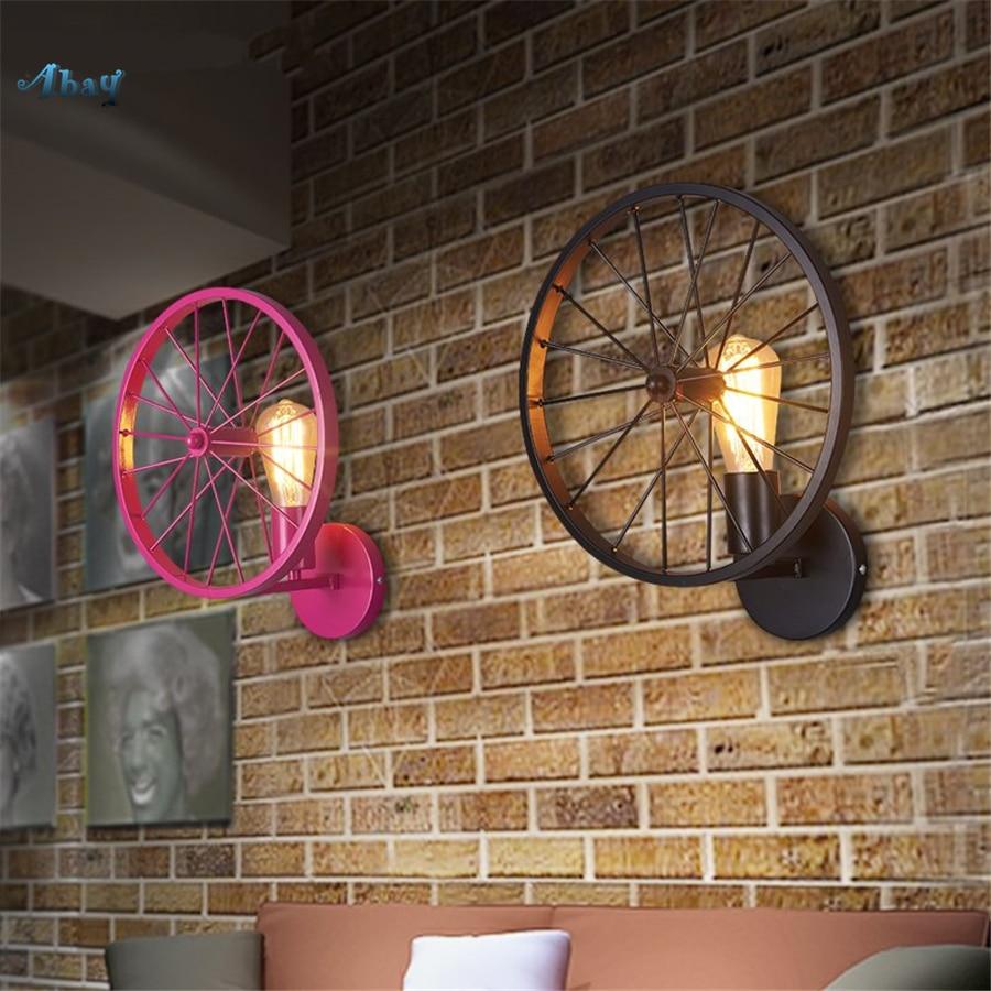 Vintage Industrial Bicycle Tires Wall Lamp for Bar Dining Room novel Living Room decoration restaurant led wall sconces lightVintage Industrial Bicycle Tires Wall Lamp for Bar Dining Room novel Living Room decoration restaurant led wall sconces light