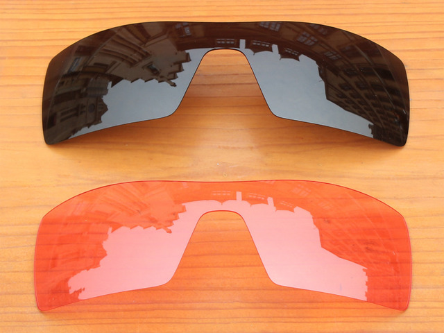 Black & Crystal Pink 2 Pieces Replacement Lenses For Oil Rig Sunglasses Frame 100% UVA & UVB Protection