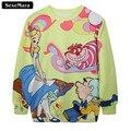 SexeMara 2017 Alice In Wonderland Cartoon Printed Sweatshirt Harajuku Kawaii Warm Sudaderas Slim Comfortable Sexy Pullover G130