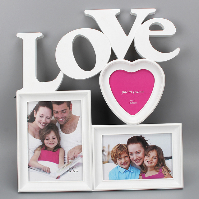 hollow love design 3 boxes white picture frame diy wall hanging picture frames home art decoration - Wall Hanging Photo Frames Designs